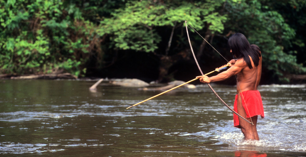 A fisherman with a bow and arrow.